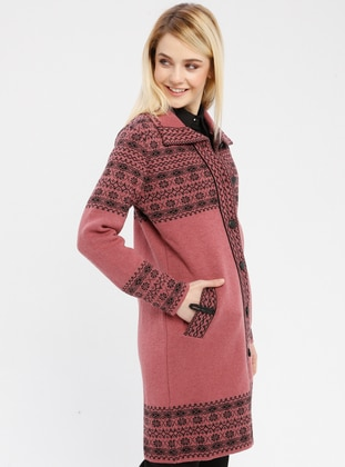 Black - Dusty Rose - Ethnic - Unlined - Point Collar -  - Jacket