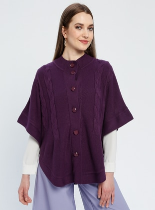 Purple - Unlined - Button Collar - Acrylic -  - Jacket