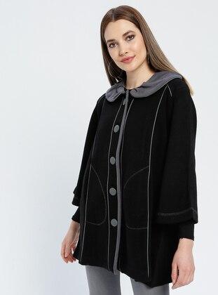Black - Unlined - Round Collar -  - Jacket