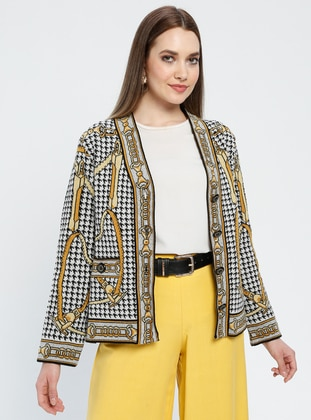 Black - Yellow - Gray - Multi - Unlined - V neck Collar -  - Jacket