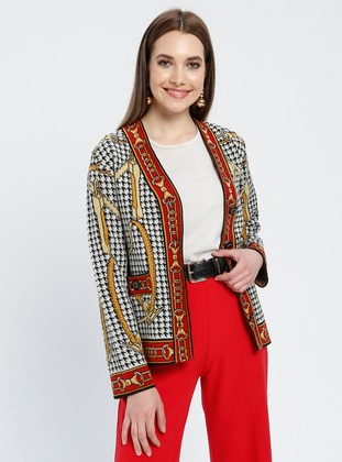 Red - Black - Multi - Unlined - V neck Collar -  - Jacket