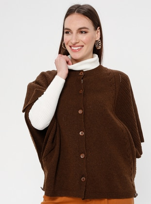 Brown - Crew neck - Unlined -  - Poncho