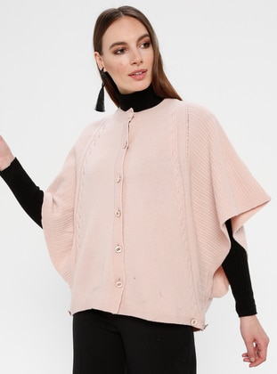 Pink - Crew neck - Unlined -  - Poncho
