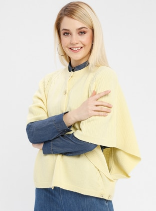 Yellow - Unlined - Crew neck -  - Poncho