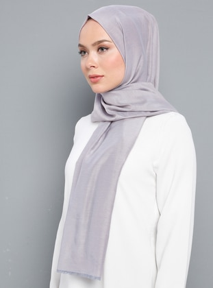 Lilac - Plain - Silk Blend - Cotton - Shawl