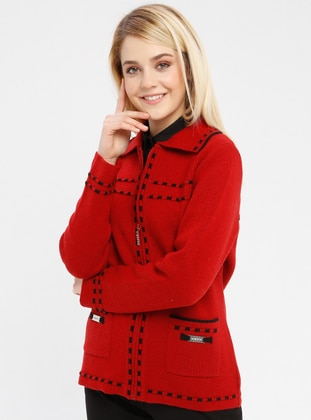Red - Black - Unlined - Point Collar -  - Jacket