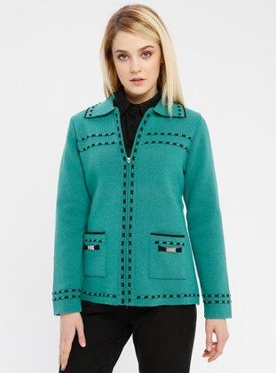 Green - Black - Unlined - Point Collar -  - Jacket