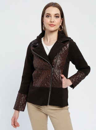 Brown - Unlined - Polo neck -  - Jacket