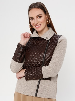 Brown - Minc - Unlined - Polo neck -  - Jacket