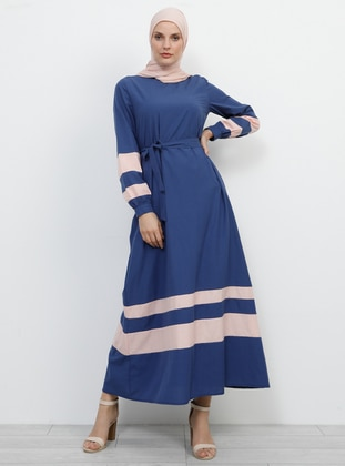 Navy Blue - Powder - Crew neck - Fully Lined - Cotton - Dress
