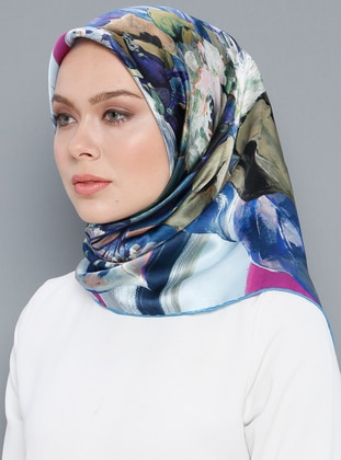 Multi - Printed - %100 Silk - Satin - Crepe - Scarf