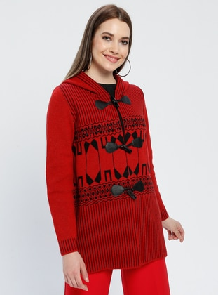 Red - Black - Ethnic - Unlined -  - Jacket