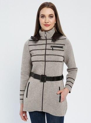 Brown - Minc - Stripe - Unlined - Polo neck -  - Jacket