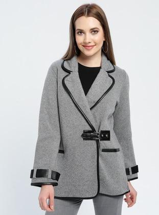 Gray - Unlined - Shawl Collar -  - Jacket