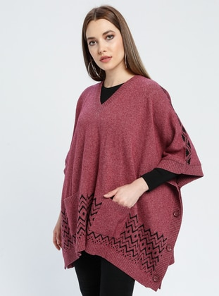 Dusty Rose - Multi - V neck Collar - Unlined -  - Poncho