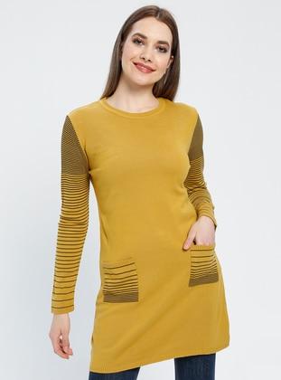 Mustard - Stripe - Unlined - Crew neck - Acrylic -  - Tunic