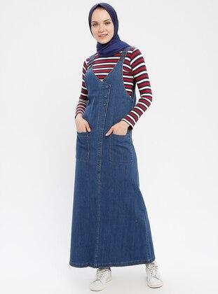 Blue - V neck Collar - Unlined - Cotton - Denim - Dress