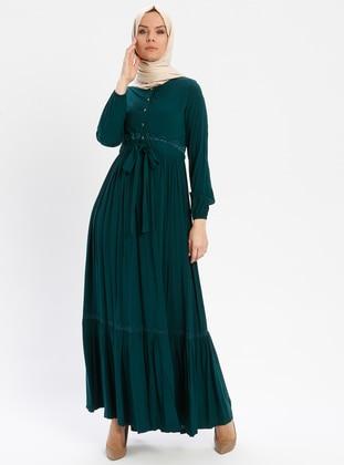 Emerald - Unlined - Crew neck - Viscose - Plus Size Dress - BAGİZA