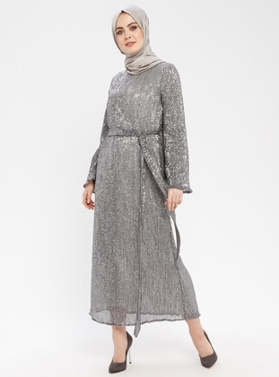 Silver tone - Fully Lined - Crew neck - Muslim Evening Dress