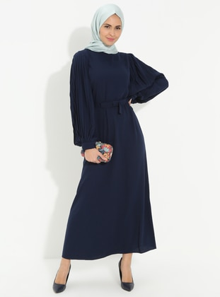 Navy Blue - Polo neck - Unlined - Cotton - Dress