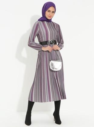 Purple - Multi - Polo neck - Unlined - Dress