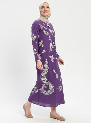 Purple - Crew neck - V neck Collar - Unlined - Cotton - Dress