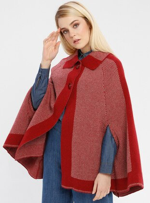 Beige - Maroon - Point Collar - Unlined -  - Poncho