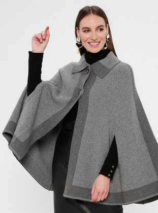 Gray - Point Collar - Unlined -  - Poncho