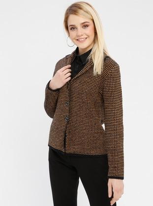 Black - Mustard - Unlined - Point Collar -  - Jacket