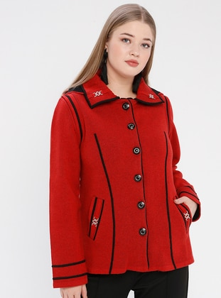 Red - Point Collar - Unlined -  - Plus Size Jacket