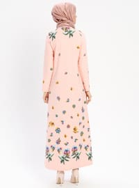 Powder - Floral - Crew neck - Unlined - Dress - BAGİZA