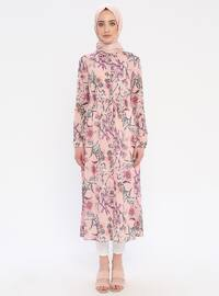 Powder - Floral - Point Collar - Unlined - Dress
