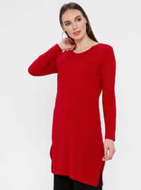 Red - Unlined - Crew neck - Acrylic -  - Tunic