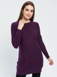 Purple - Unlined - Crew neck - Acrylic -  - Tunic