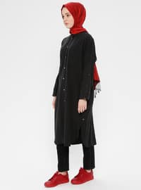 Black - Unlined - Point Collar - Cotton - Topcoat