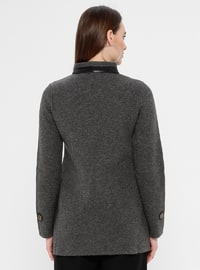 Gray - Unlined - Crew neck -  - Jacket