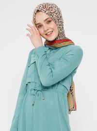 Green Almond - Point Collar - Unlined - Cotton - Dress