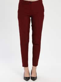 Maroon - Plaid - Pants