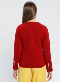 Red - Black - Unlined - Crew neck -  - Jacket
