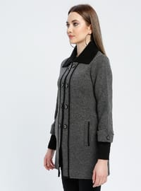 Black - Gray - Unlined - Point Collar -  - Jacket