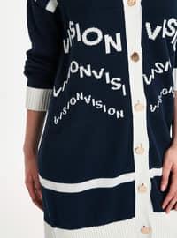 Navy Blue - Printed - Cardigan