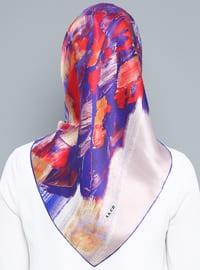 Multi - Printed - %100 Silk - Satin - Crepe - Scarf
