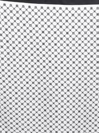 Black - White - Printed - %100 Silk - Twill - Scarf