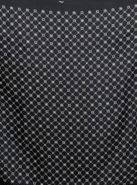 Black - Printed - Plaid - %100 Silk - Twill - Scarf