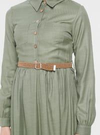 Green Almond - Point Collar - Unlined - Cotton - Dress