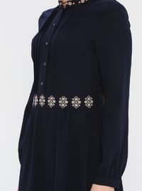 Navy Blue - Crew neck - Unlined - Cotton - Dress