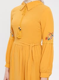 Mustard - Point Collar - Fully Lined - Cotton - Dress