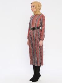 Terra Cotta - Multi - Polo neck - Unlined - Dress