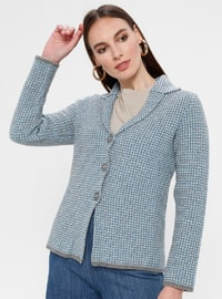 Blue - Gray - Unlined - Point Collar -  - Jacket