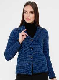 Black - Saxe - Unlined - Point Collar -  - Jacket